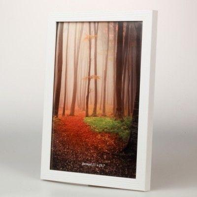 Biała ramka drewniana A4