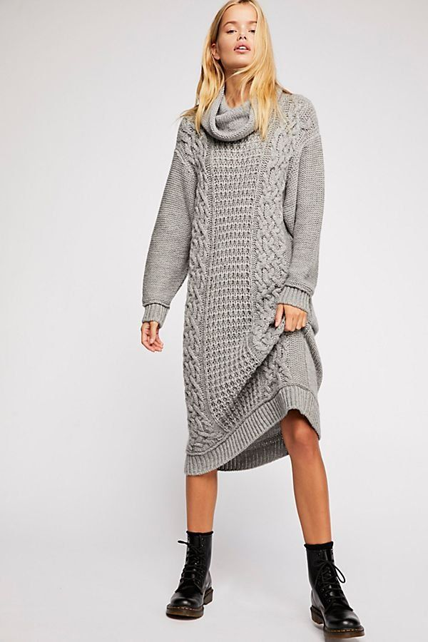 b2b7fd58ada Perfect Cable Cowl Neck Dress - Cowl Neck Gray Cable Knit Sweater Midi Dress