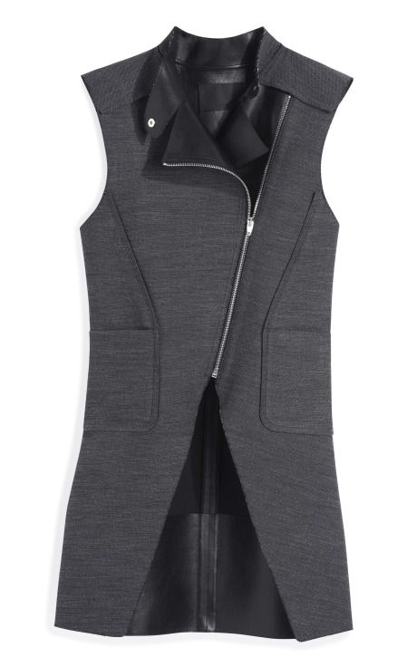 Leather Combo Zippered Cutaway Vest by Alexander Wang - Moda Operandi