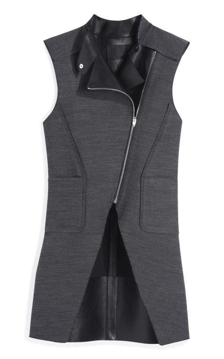 Leather Combo Zippered Cutaway Vest by Alexander Wang - Moda Operandi