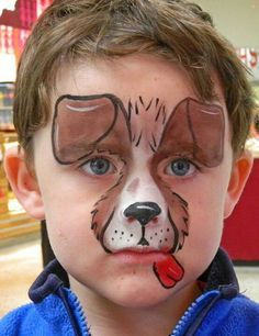 Quick easy dog #facepaint #facepainting face painting ideas for kids. Artist Peta Rogers