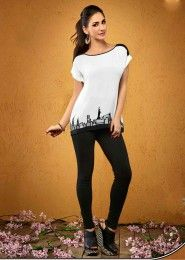 Casual Wear  Crepe White Embroidered Work Top