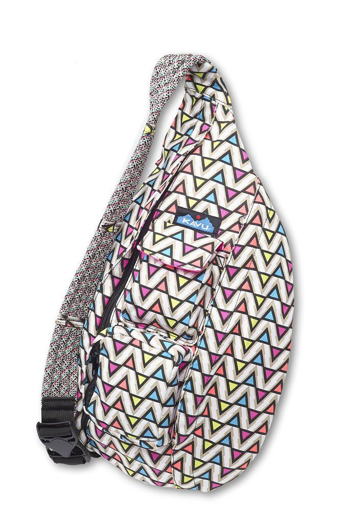 Bag Electric Ave Adjule Rope Shoulder Strap Two Vertical Zip Compartments Key Or Cell Phone Pockets Padded Back With Kavu Embroidery