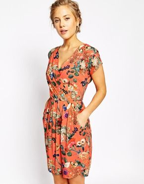 Closet Wrap Front Pleated Pencil Dress In Bright Garden Floral