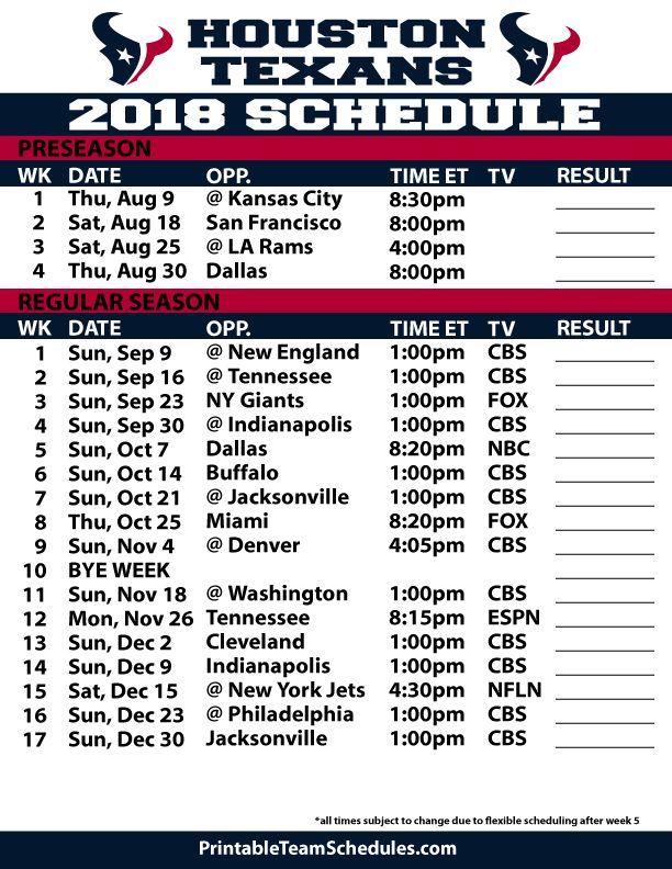 201819 Houston Texans Printable Schedule Dallas cowboys