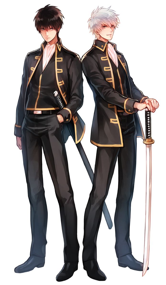 Gintoki and Hijikata in the Shinsengumi uniform. I always thought that Gintoki looked really good in it!