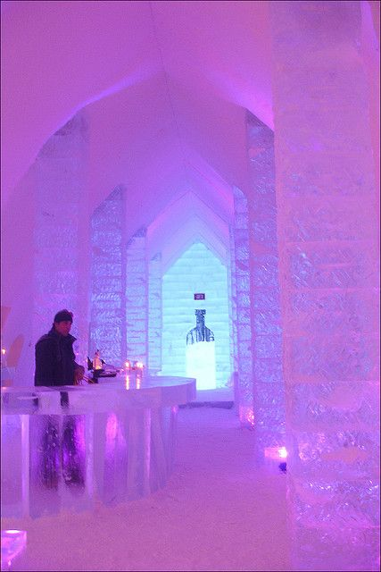 The bar in Hotel de Glace  — Quebec City. North America's only ice hotel. Astrogeographic position: in the position of the palace of the ice princess right in between 2 winter signs durable, solid Capricorn sign of white colour and the start of winter + a