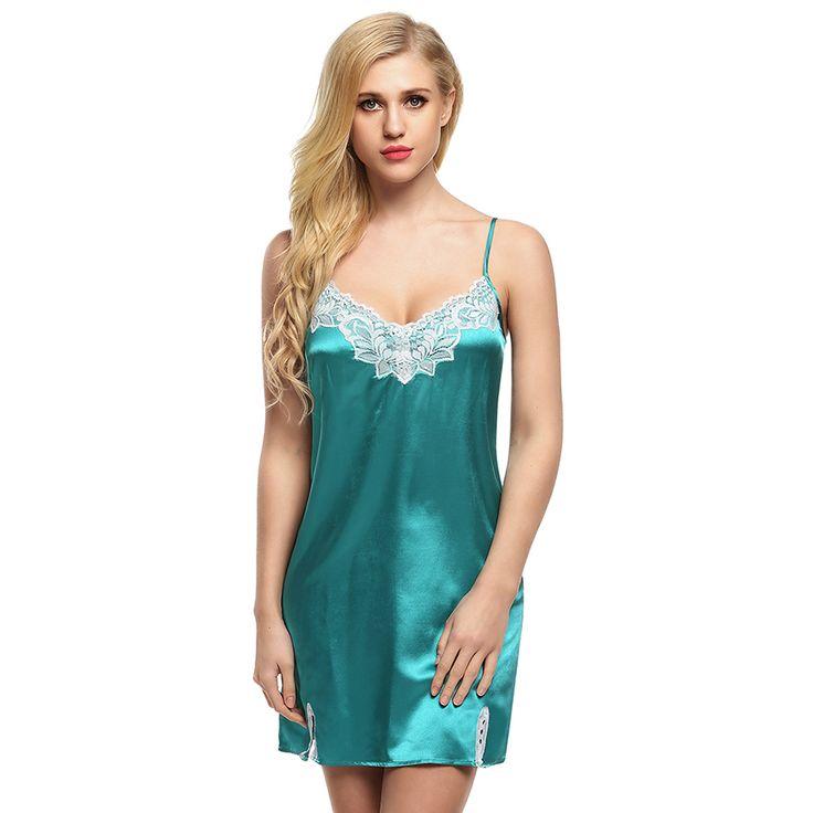 Women Nightgown Spaghetti strap Sexy Satin Lace Splicing