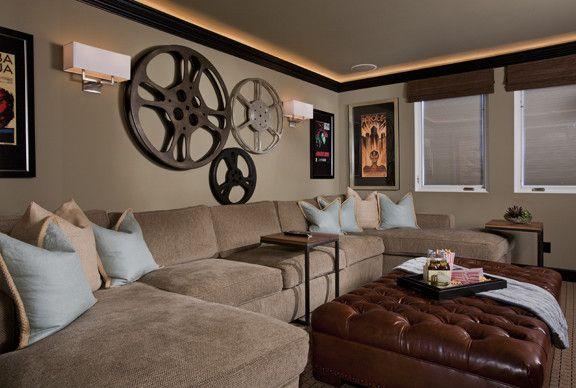 Media room, looks comfy, love wall film reels!