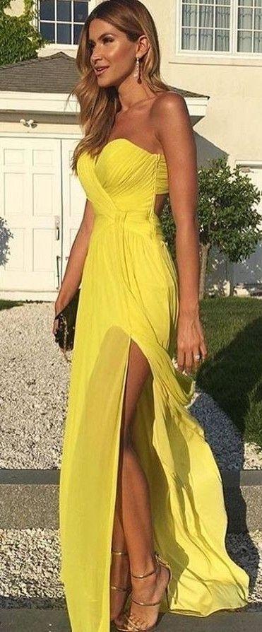 #summer #feminine #style   Yellow Gown