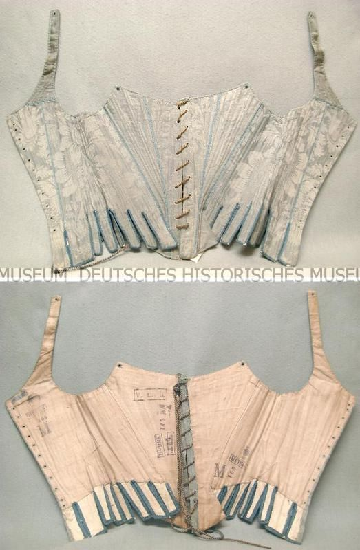 1785/1800?  origin: Berlin Width: 80 cm  Length: 57 (with support) cm Lining: Linen (beige)  linen weave lining (tabs): leather (white) boning: Fischbein atlas cohesive Upper material: silk (blue-green) atlas cohesive lace: cotton? (Beige), silk? (Blue) cord