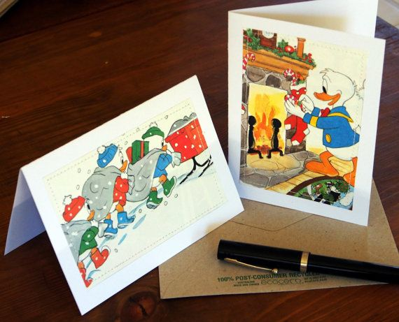 Christmas Cards  Donald Duck Huey Dewey and Louie  by MagpieSailor