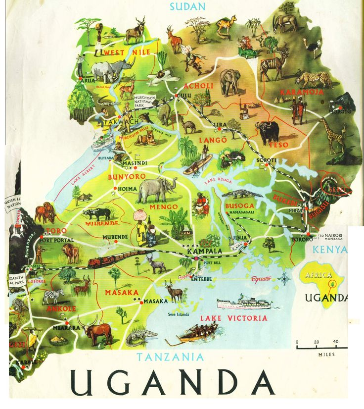 Map of Uganda; and YES there is civilisation, its not all Bush, Forest and Animals... ;P