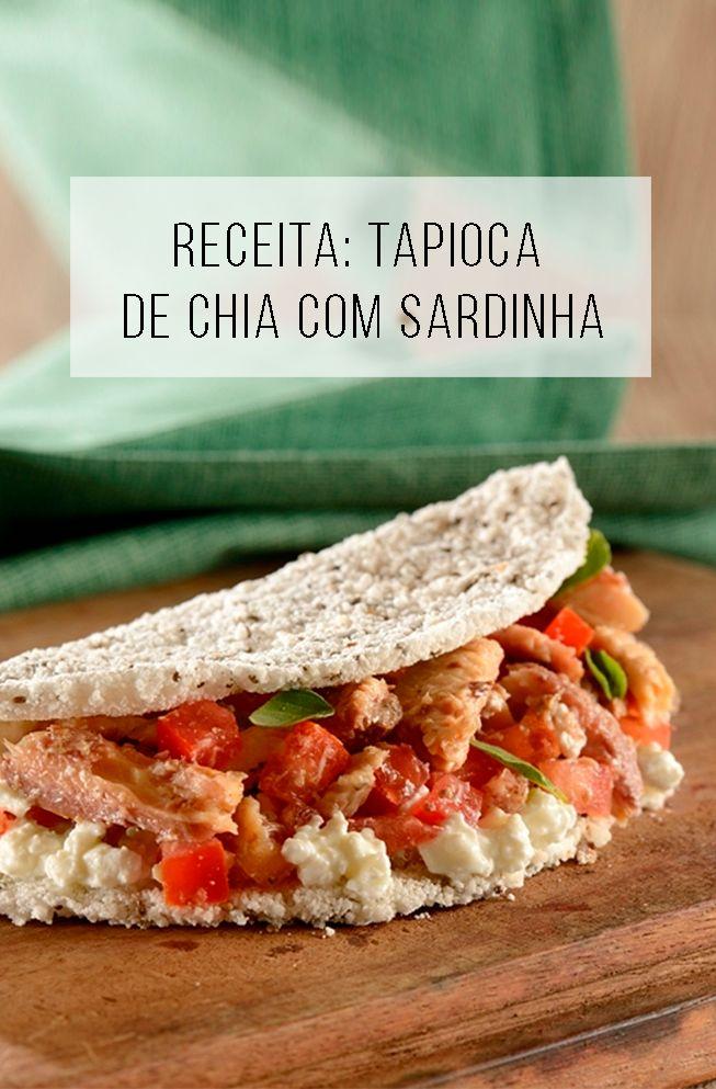 Receita fácil e barata de tapioca de chia com sardinha // palavras-chave: tapioca, chia, saudável, receita, cozinha, peixe, jantar, almoço, leve,