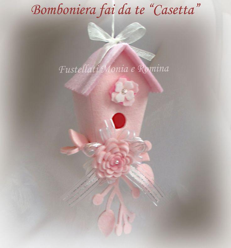 bomboniera casetta uccellini 3D feltro fai da te meravigliosa facile rose pannolenci perle