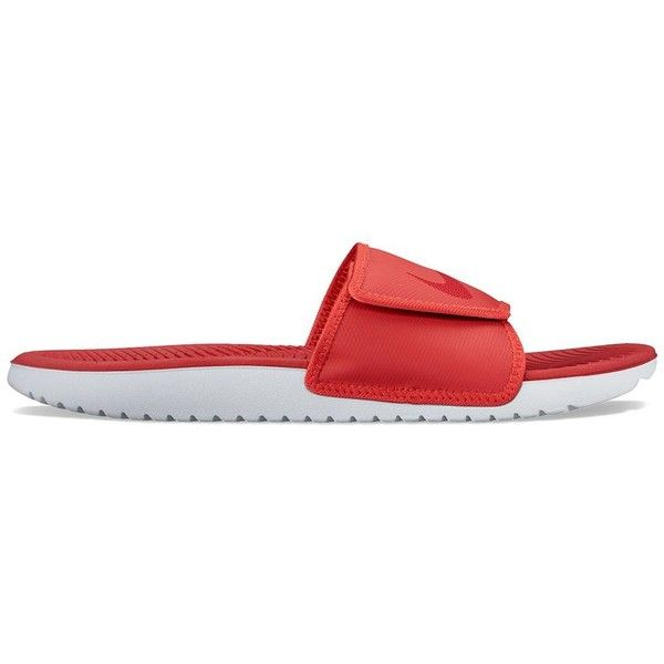 Nike Kawa Adjust Men's Slide Sandals ($26) ❤ liked on Polyvore featuring men's fashion, men's shoes, men's sandals, red, mens velcro shoes, nike mens sandals, mens velcro strap shoes, nike mens shoes and mens open toe shoes