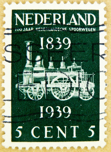 dutch stamp Netherland 5c Nederland railroal Briefmarken Niederlande Holland.