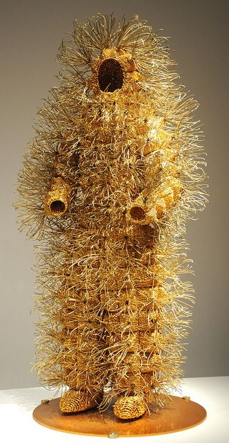 Gold wire man, full sized human body suit, African contemporary art, Seattle Art Museum, Seattle, Washington, USA by Wonderlane, via Flickr