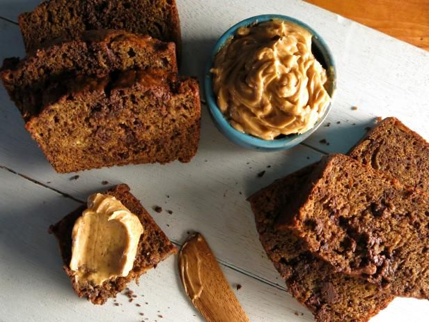 Get Espresso-Chocolate Chip Banana Bread with Espresso-Cinnamon Butter Recipe from Food Network