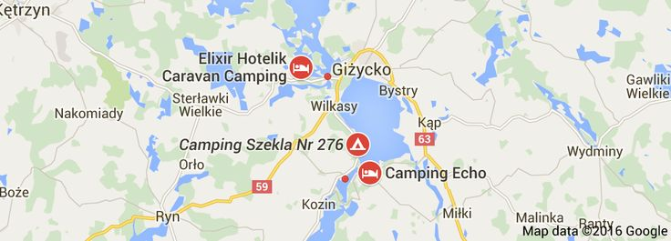 Map of camping giżycko