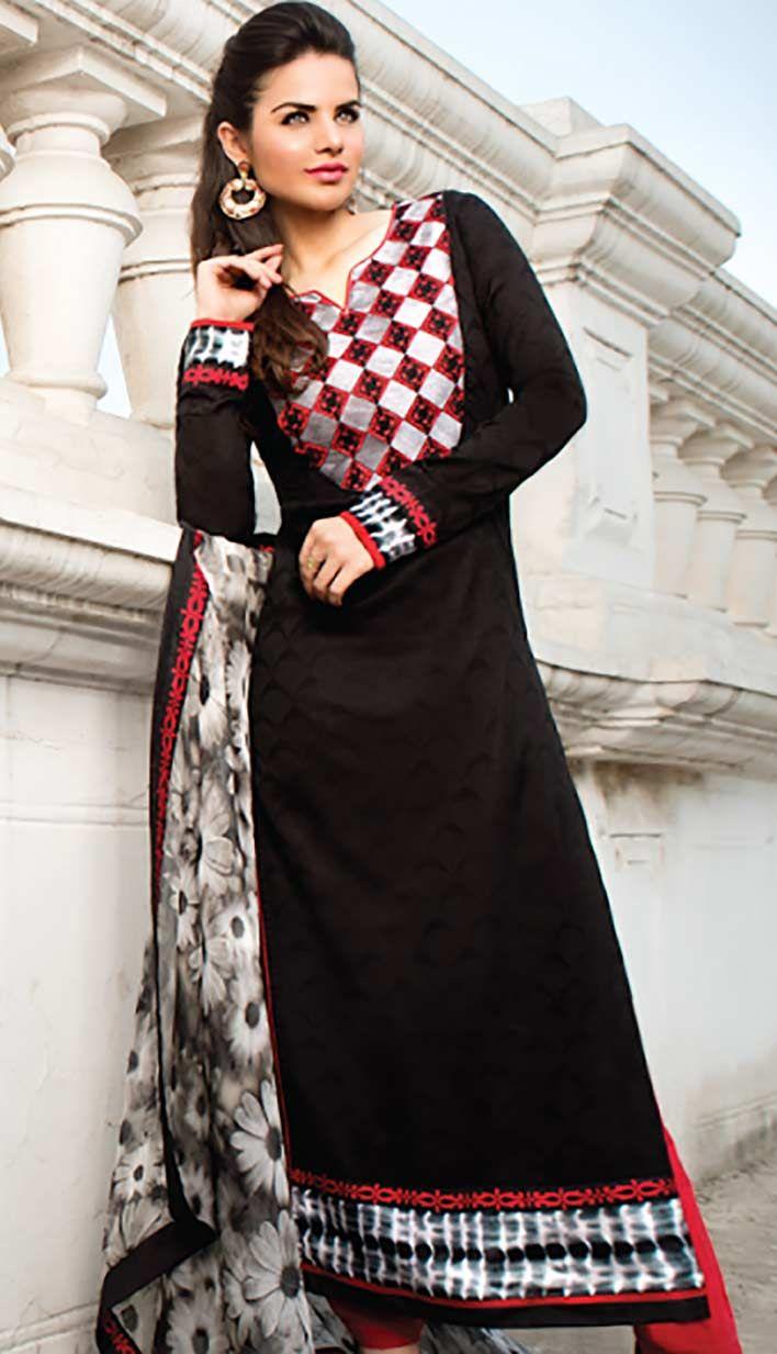 Purchase the Fashionable Indian Black Cotton Jacquard #PakistaniDresses Online.  #Price INR- 3465 Link- http://alturl.com/g2s69