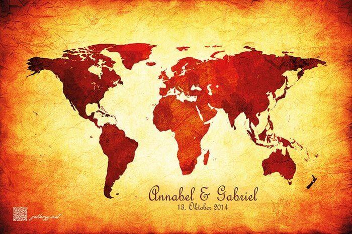 Wie genial ist das denn?! Eine Weltkarte mit heißen Tipps von den Hochzeitsgästen