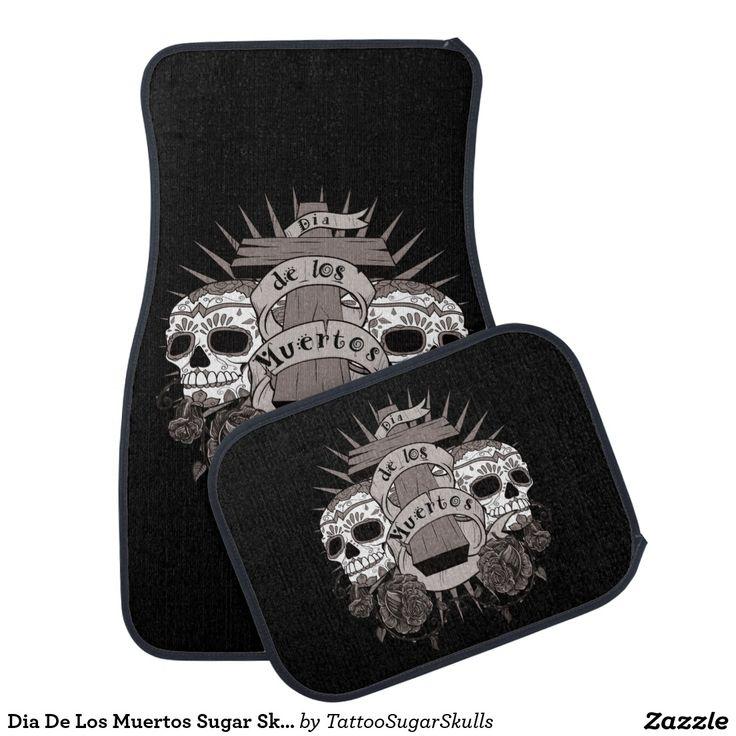 Dia De Los Muertos Sugar Skull Cross Roses Car Floor Mat  Zazzle.com  Great gifts for