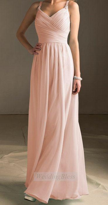 Light Blush Bridesmaid Dress Pearl Pink Long Evening Dress with straps Chiffon A-line