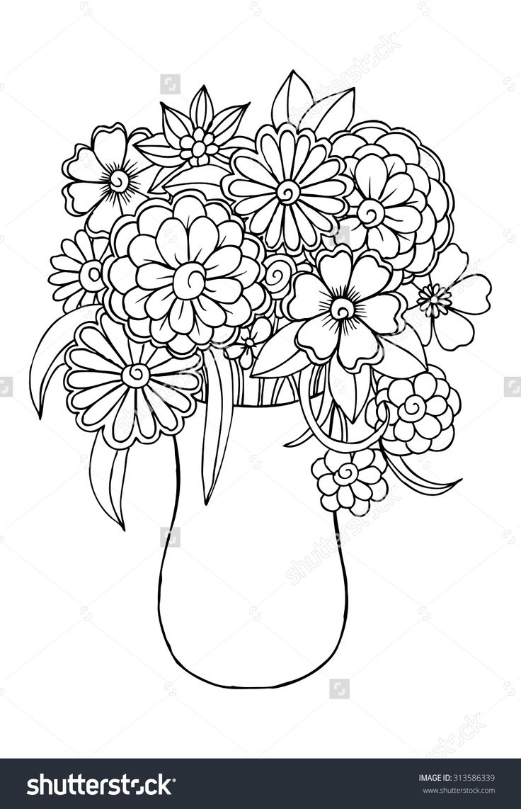 Flower in vase coloring pages - Vector Bouquet Of Flowers In A Vase
