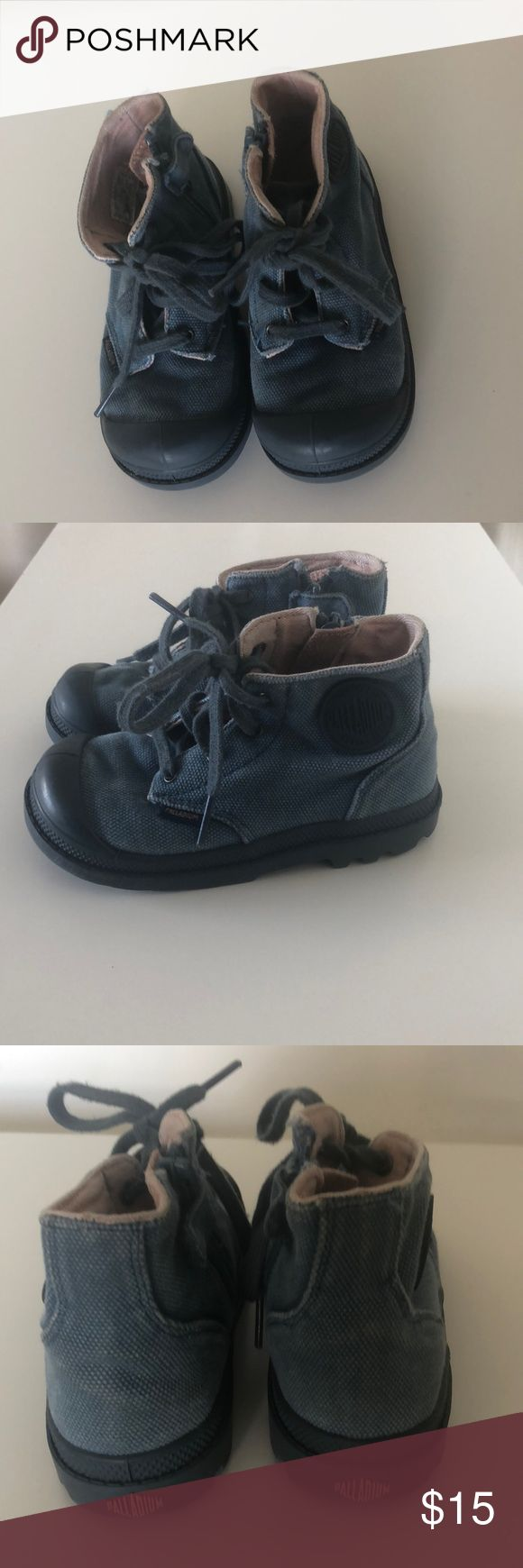 Palladium boys boots Perfect for fall and winter. Stylish boots. In good used condition. Love this with corduroy pants! Palladium Shoes Boots
