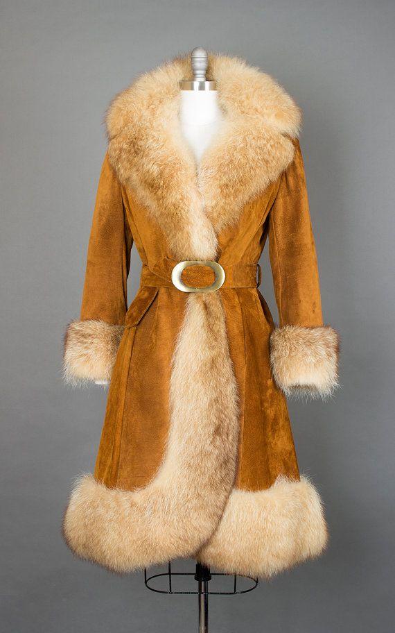 Vintage 60s 70s Fox Fur Suede Princess Coat   1960s 1970s Brown Boho Penny Lane Almost Famous Fur Trim Coat (medium)   Birthday Life Vintage on Etsy