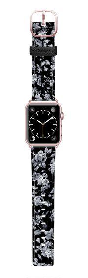 Casetify Apple Watch Band (42mm) Saffiano Leather Watch Band - VINTAGE FLOWERS IN BLACK - APPLE WATCH by Nika Martinez