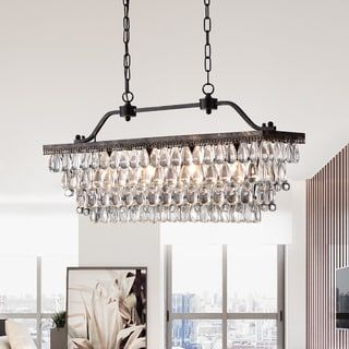 Shop for Ikraam Glass and Bronze Rectangular Pendant Light Fixture (30 in.). Get free shipping at Overstock.com - Your Online Home Decor Outlet Store! Get 5% in rewards with Club O! - 20158281