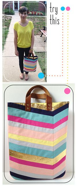 Try This - Art-Inspired Chevron Tote Bag by fabricpaperglue, via Flickr