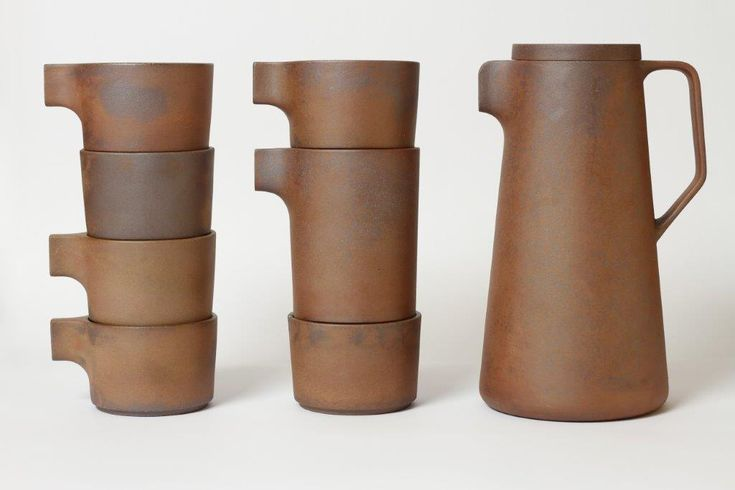 Silt Collection | VW+BS: functional seven piece set designed with European aesthetic to traditional Chinese purple clay. The cups, small jug and bowl are all stackable and the pot lid can be used on all the pieces //