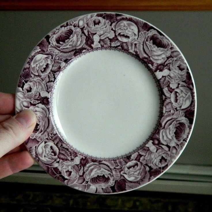 6 GORGEOUS Purple English Royal Staffordshire JUNE Transferware Side Plates #RoyalStaffordshireWilkinson & 10 best English Dinnerware images on Pinterest | Dinner ware ...