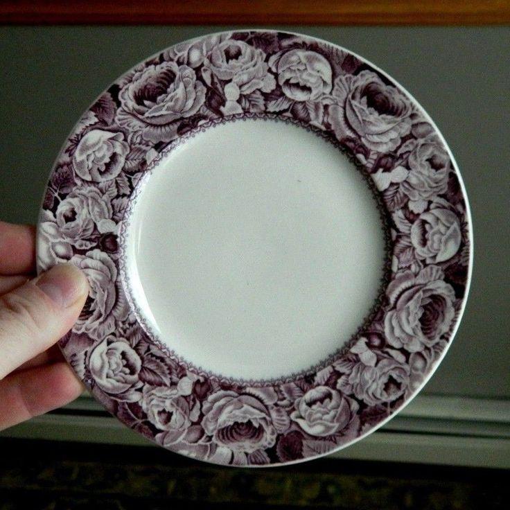 6 GORGEOUS Purple English Royal Staffordshire JUNE Transferware Side Plates #RoyalStaffordshireWilkinson