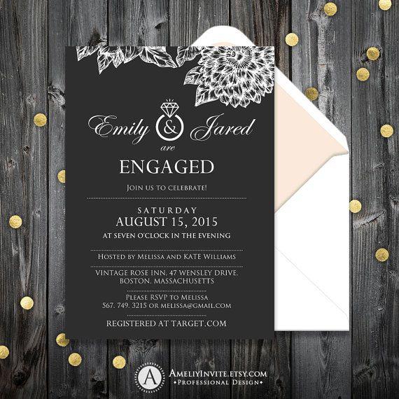 Pinterestu0027teki 25u0027den fazla en iyi Engagement invitation template - engagement invitation cards templates