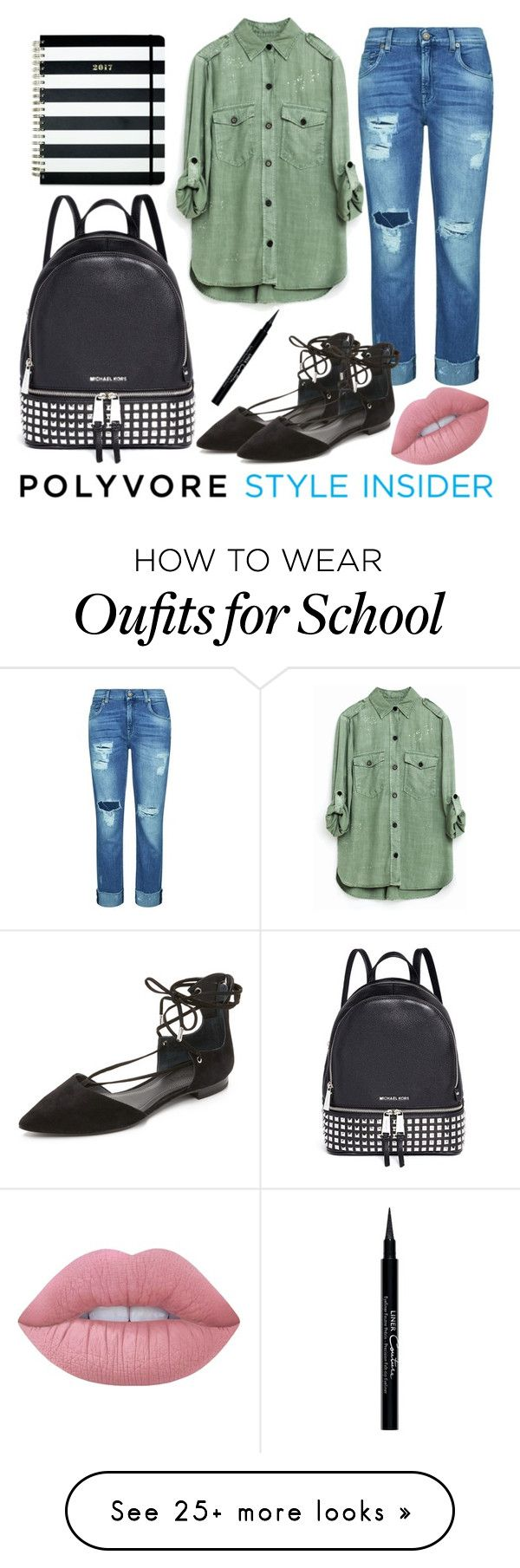 """""""Too cool for school"""" by seth133 on Polyvore featuring 7 For All Mankind, Kendall + Kylie, Michael Kors, Kate Spade, Givenchy, Lime Crime, backpacks, contestentry and PVStyleInsiderContest"""