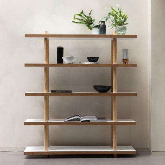 BRENNAN White and ash veneer wide bookcase | Buy now at Habitat UK