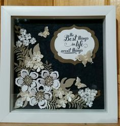 8 x 8 shadow box made with Botanical Blooms die cuts by Stampin Up.