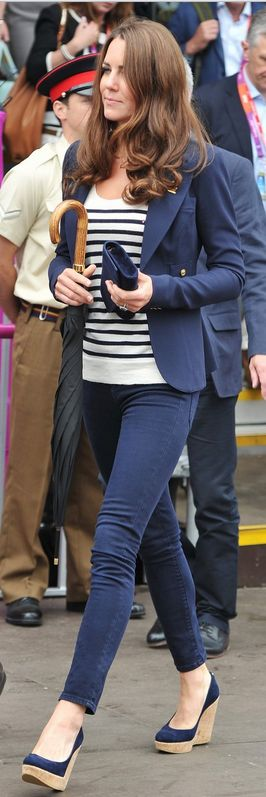 Kate Middleton wearing Smythe One Button Blazer Stuart Weitzman Corkswoon Wedges in Denim Alexander McQueen Breton Striped Knit Top