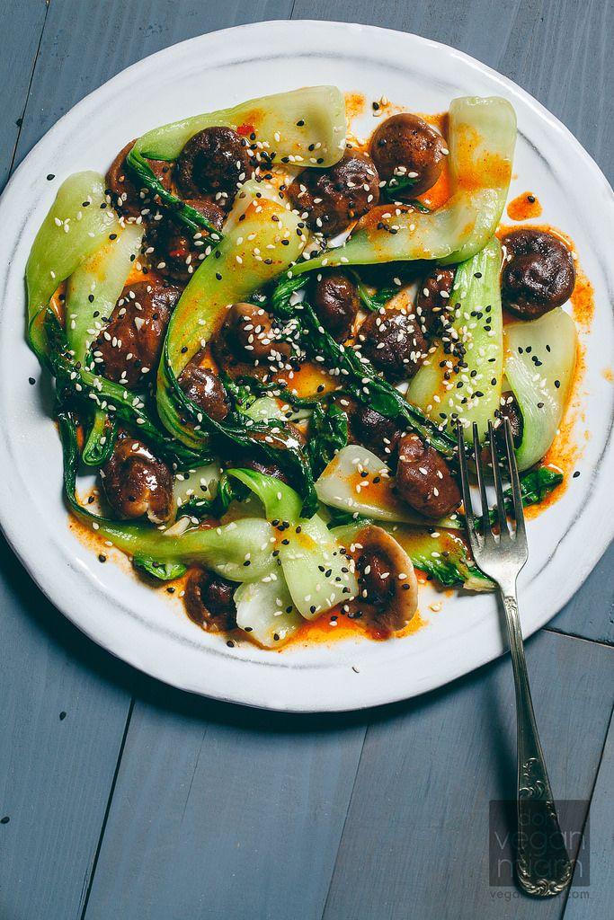 #Vegan Bok Choy + Shiitake Mushrooms with Gochujang Vinaigrette | vegan miam