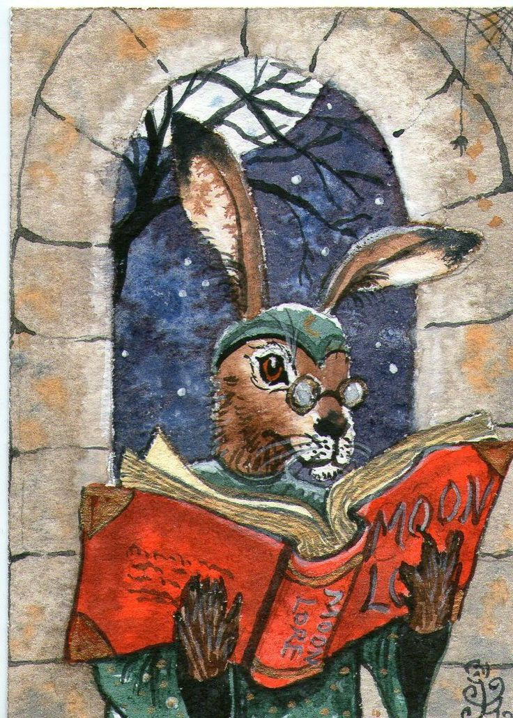 The very first Matlock the hare painting, done as a miniature aceo in April 2012...
