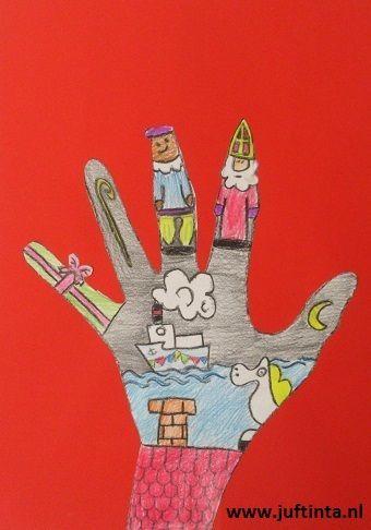 Een leuke tekenopdracht, voor voor de oudere kinderen. Trek eerst je hand over en knip deze uit. Ga nu deze hand versieren met onderwerpen die met Sinterklaas te maken hebben. Plak vervolgens de hand op een rood papier en klaar is je sinterklaaskunstwerk! Met dank aan juf Martine !: