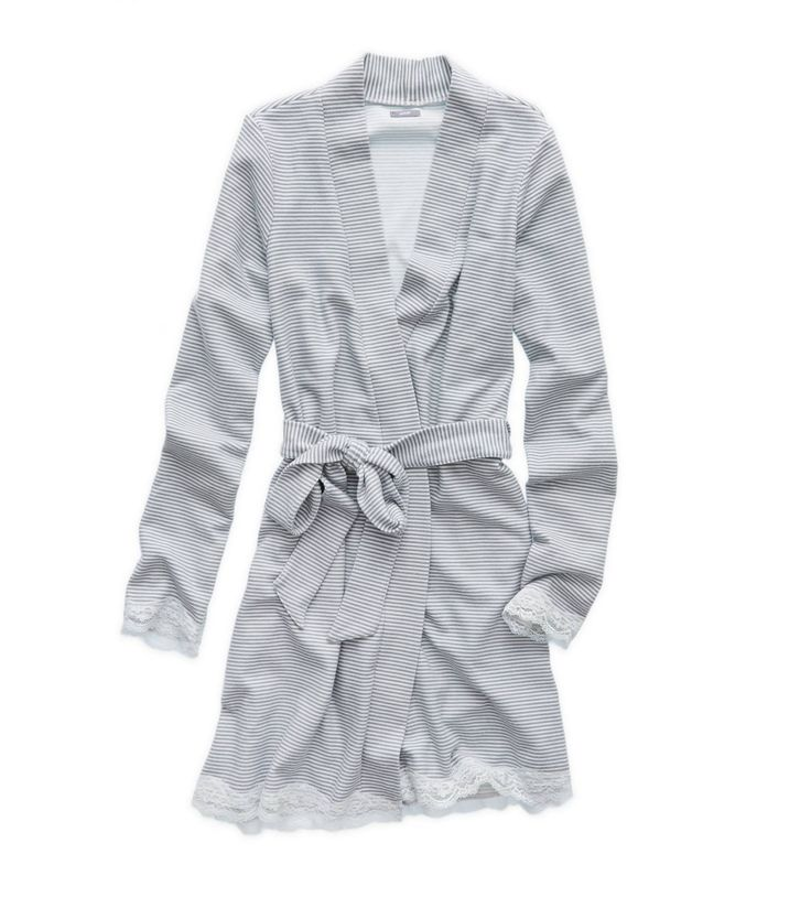 Medium Heather Grey Aerie Waffle Robe - Wrap yourself in warmth with a pretty touch of lace! #Aerie