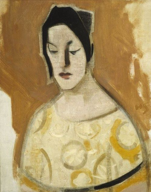Helene Schjerfbeck (Finish 1862–1946) [Realism, Impressionism, Expressionism, Romanticism] The Fortune-Teller (Woman in Yellow Dress), 1926.