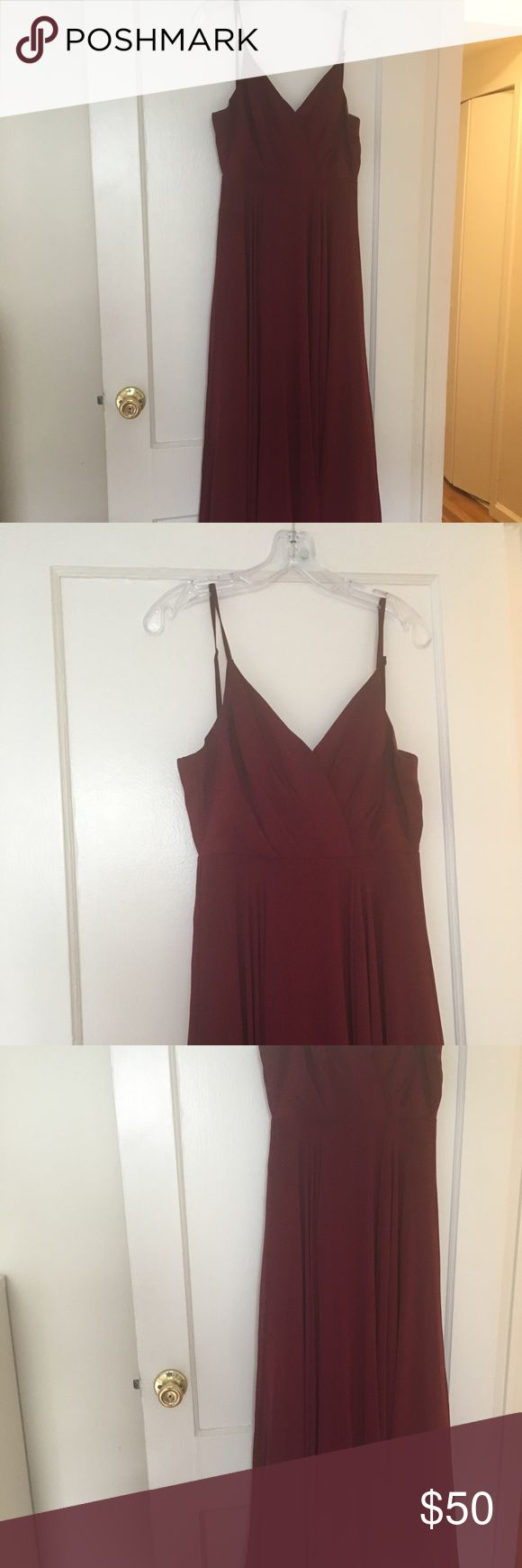 "Lulu's Burgundy/Maroon Full Length Dress Perfect for a bridesmaids dress or formal event. I had it hemmed so it's perfect for a person around 5'3"" with heels (my heels were 4"" tall, I'm 5'3"", and this dress fell perfectly so that I wasn't stepping on it but you couldn't see my feet). It also has a clasp in front that you can use if you want the top a bit snugger. It's only been worn once and is beautiful on - very flowy and elegant. Lulu's Dresses Wedding"