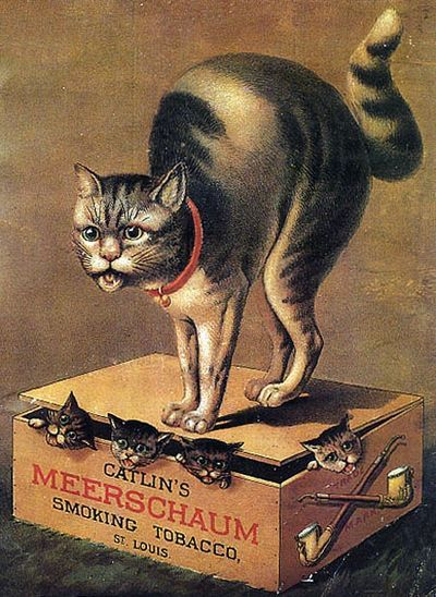 Halloween Cat with kittens... old Victorian tobacco advertisement..