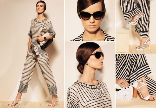 As Seen in ... MarieClaire.it // Striped #BlackandWhite #Satin #Blouse & #Trousers by #AtosLombardini
